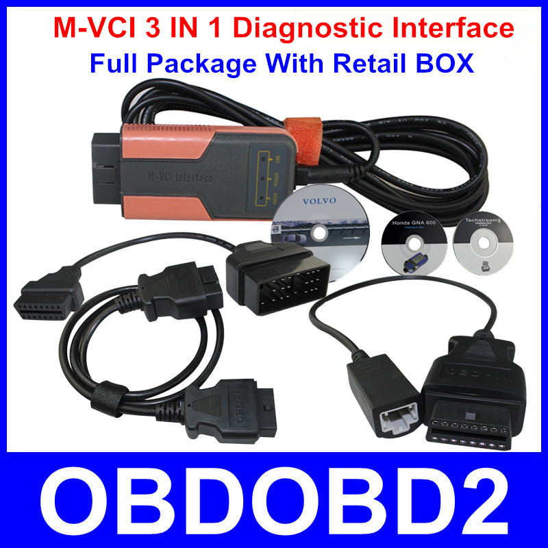 Best Selling MVCI Scanner For TIS / HDS / Volvo/ LEXUS 3 IN 1 M-VCI Diagnostic Interface Latest Software Version With Retail BOX(China (Mainland))