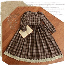 Classic Vintage Brown Plaid Long Dress Preppy British Mori Girl Style Lace Retro Dresses Women Fada Vestido Autumn Spring Winter(China (Mainland))