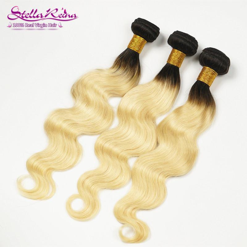 613 Platinum Blonde Dark Roots Brazilian Hair Body Wave 3 Pcs 1B/613 Dark Root Ash Light Blonde Ombre Human Remy Hair Extension<br><br>Aliexpress