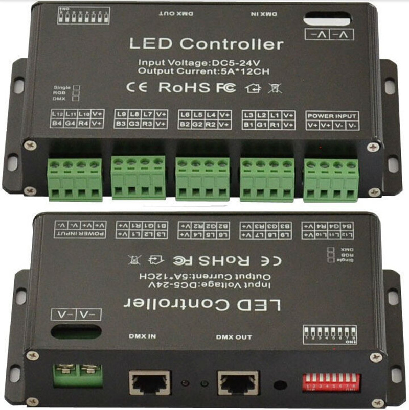 DC5V-24V 12Channel RGB DMX LED controller DMX decoder&driver LED strip module(China (Mainland))