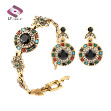 Luxury Jewelry Set Vintage Malachite Bijoux Plaque Or Earrings For Women Wedding Accessories Bridesmaid Gifts Two Pcs Sets(China (Mainland))