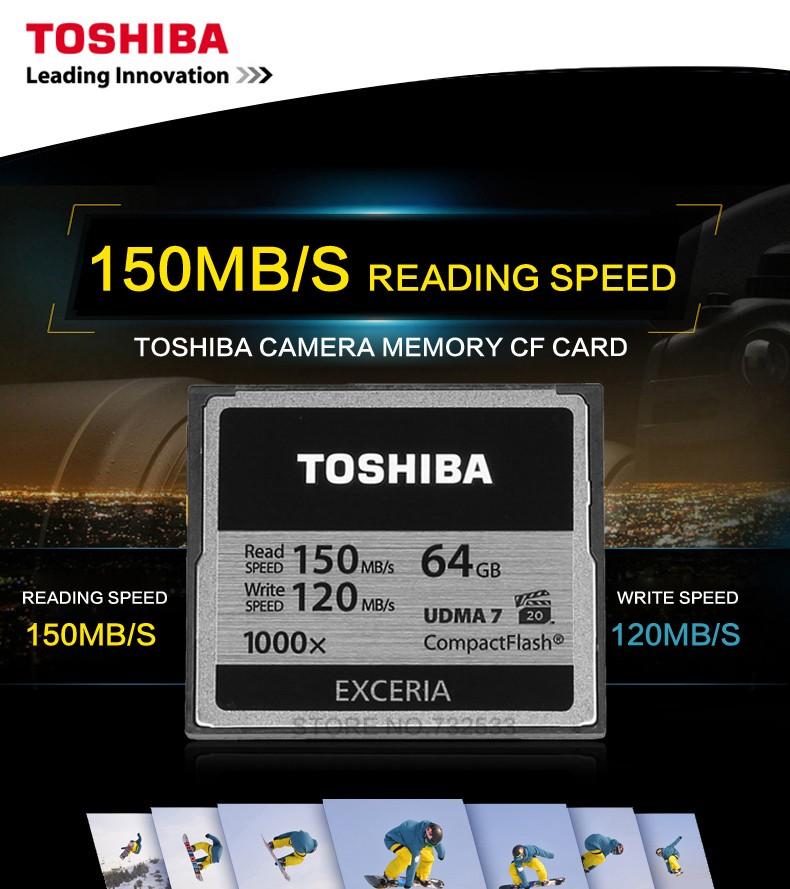 ถูก โตชิบา32กิกะไบต์64กิกะไบต์128กิกะไบต์CFการ์ดมืออาชีพการ์ดแฟลชขนาดเล็กความเร็วสูง150เมกะไบต์/วินาทีUDMA7 1000Xสำหรับกล้องcamcorderadn vidieo