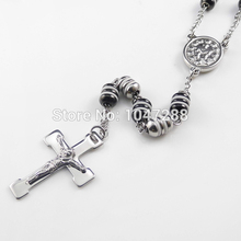 Hot Sell Men s Rosary Pendant Necklace Cross Necklace Charms Black White Steel Bead Chain Beckham
