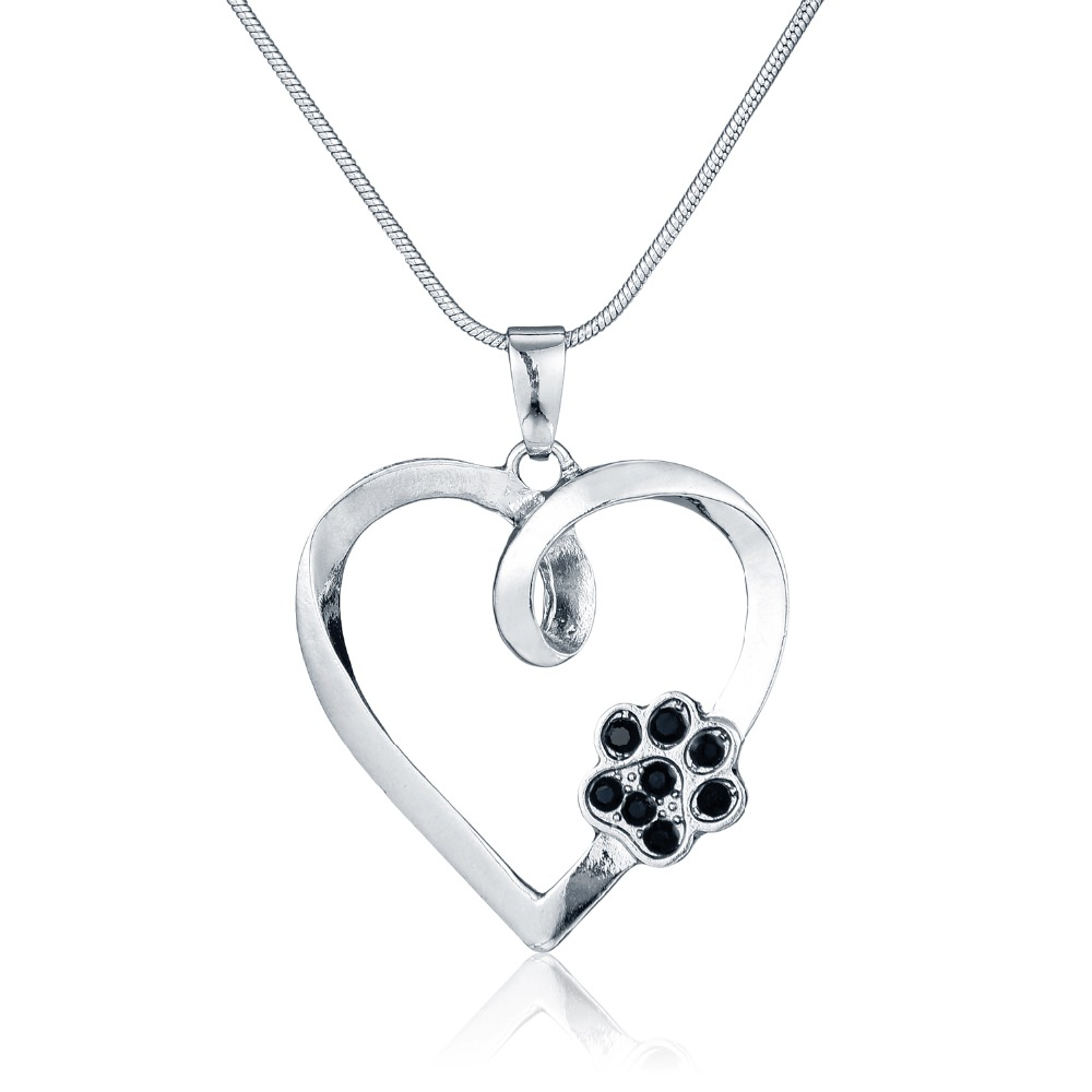 Silver Animal Pet Memorial Necklace Cat Dog Paw Print Heart Shape Pendant Necklace Black Crystal Rhinestone Women Cute Necklace(China (Mainland))