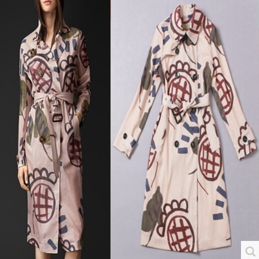 Free Shipping 2014 High Quality European Fashion Brand Double Breasted Sunflower Printing Woman Winter Coat With WaistОдежда и ак�е��уары<br><br><br>Aliexpress