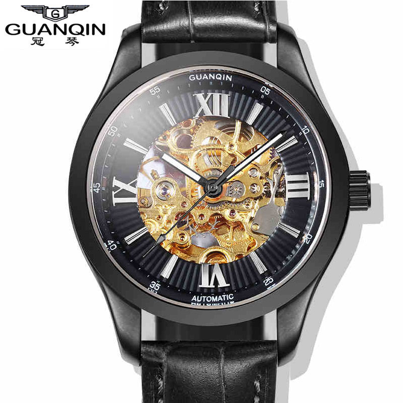 Фотография Watches Men Luxury Brand GUANQIN Tourbillon Automatic Mechanical skeleton Watch Leather Luminous Clock Men relogio masculino