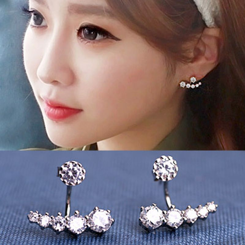 Ear Hook Jewelry 925 Sterling Sliver Earrings Six-Prong Setting 6pcs CZ Diamonds Ear Hook Stud Earrings For Women Fine Jewelry(China (Mainland))