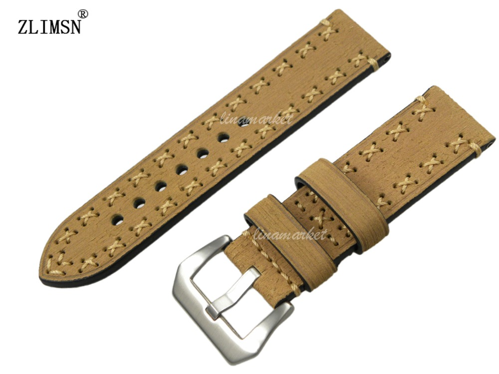 22mm MEN Yellow 100% Genuine Leather thick Manual Watch Band Strap with BUCKLE<br><br>Aliexpress
