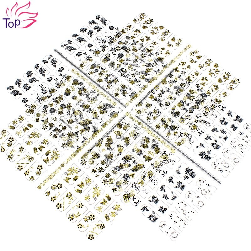 18*22cm 108 Pattern Gold Silver Decals Nail Art Bronzing Sticker 3D Flower Design Beauty Large Stamping Stickers For Nails JH238(China (Mainland))