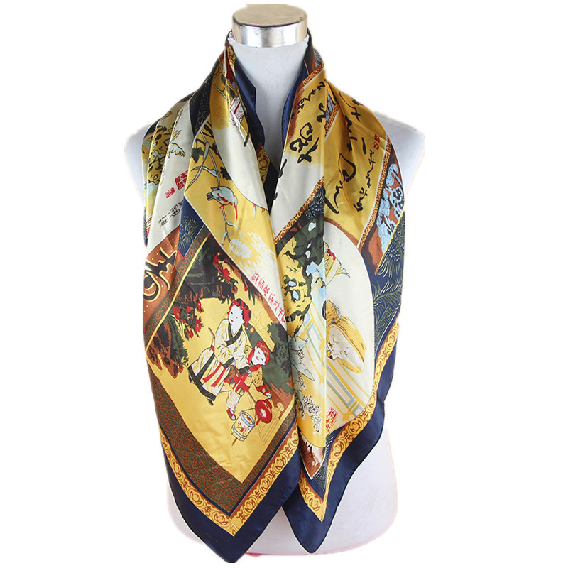 LING/ New 100% Silk Scarves And Shawls,Printed Chinese Classic Designer Pattern,High Quality Square Twill Women Scarf FJ31044(China (Mainland))