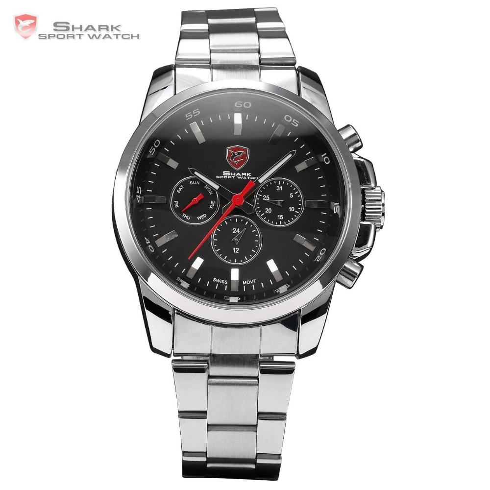 Luxury Leather Gift Box Stainless Full Steel Watch Men 6 Hands Hours Male Clock Fashion Casual Analog Military Watch / SH019-020(China (Mainland))