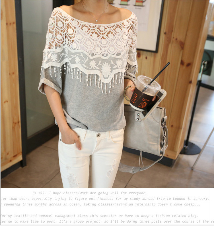 939d51bd44f21 2019 New Fashion Women Lace Blouse Shirt Ladies Casual Summer Tops ...