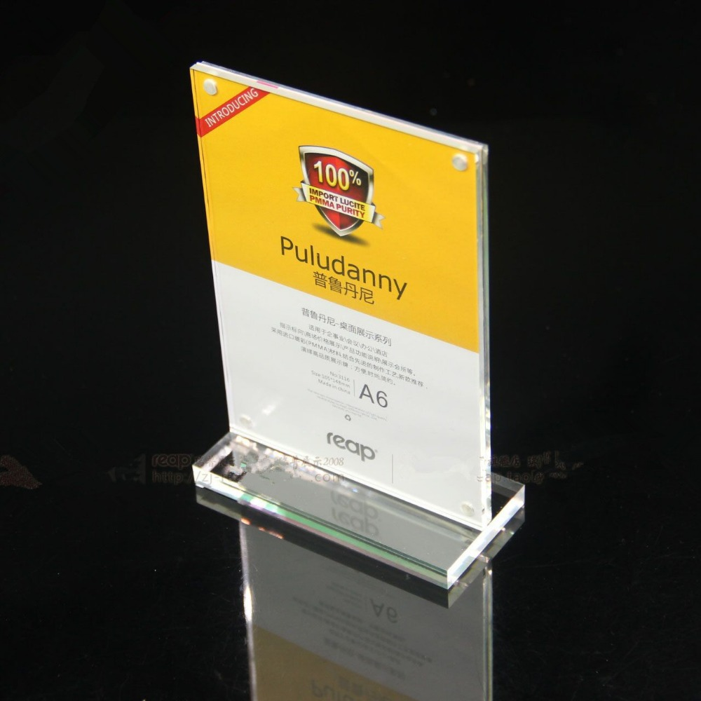 210*148mm A5 20pcs T strong magnetic advertising tag sign card display stand Acrylic table Desk menu price Label Holder Stand(China (Mainland))