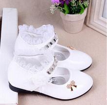2016 female child black leather performance shoes female child white leather princess single shoes(China (Mainland))