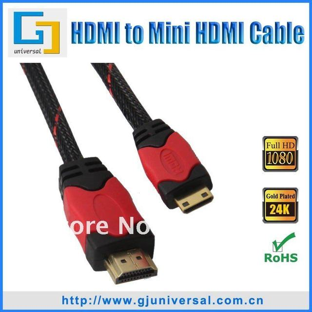 1.5M 5FT Mini HDMI to HDMI Male Cable, 1.3V Gold Plated, For Digital Camera Tablet Computer, HDMI059-1.5