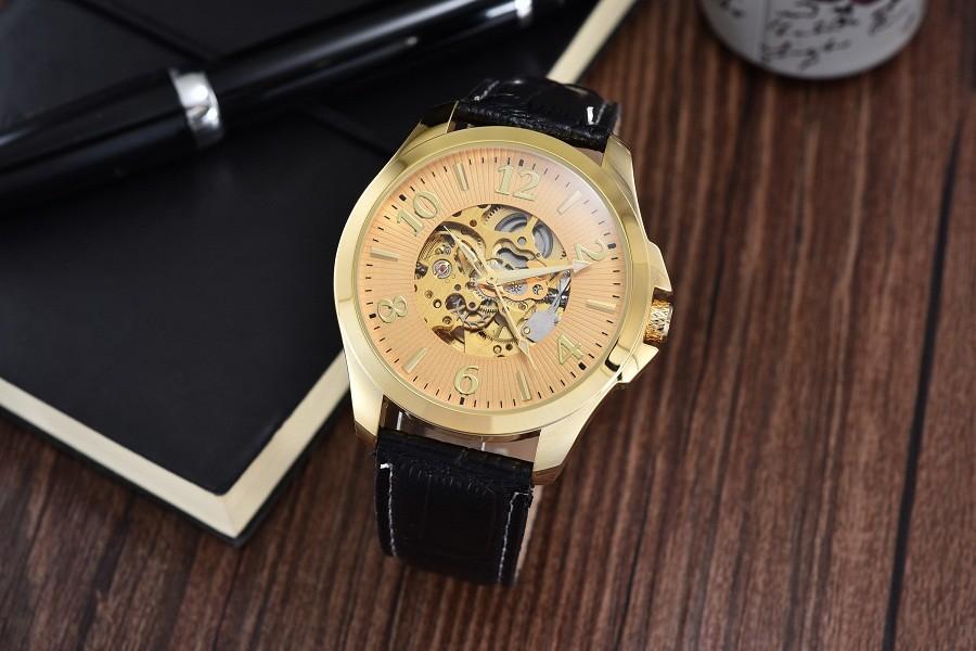 GOER марка мужчины Наручные часы Скелет кожа мужчины механические часы Автоматическая Световой цифровой водонепроницаемый черный белый