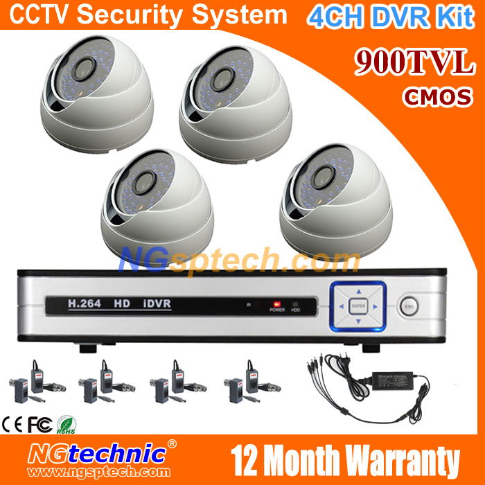 4CH Full D1 CCTV H.264 HDMI DVR Security System and 900TVL Outdoor waterproof IR Cameras Kit free shipping<br><br>Aliexpress