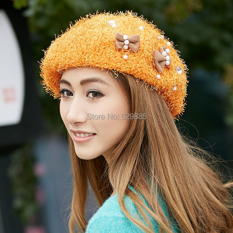 2016 Women autumn winter pink acrylic beret painter dome small flower orange caps bow pearl casual brown shopping hats(China (Mainland))