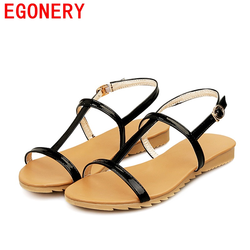 Casual T Strap Buckle Huarache non-slip Summer Style Beach Air Sandal Shoes Flats Womens Sandals Flop Shoe Black - Mesuoto Top Store store