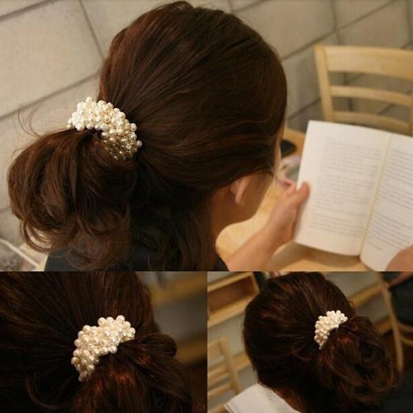 Pearl Beads Elastic Hair Band Hair Ties Nice Girl Hair Accessory Hair Band 3 Colors Factory Sale PJ009(China (Mainland))