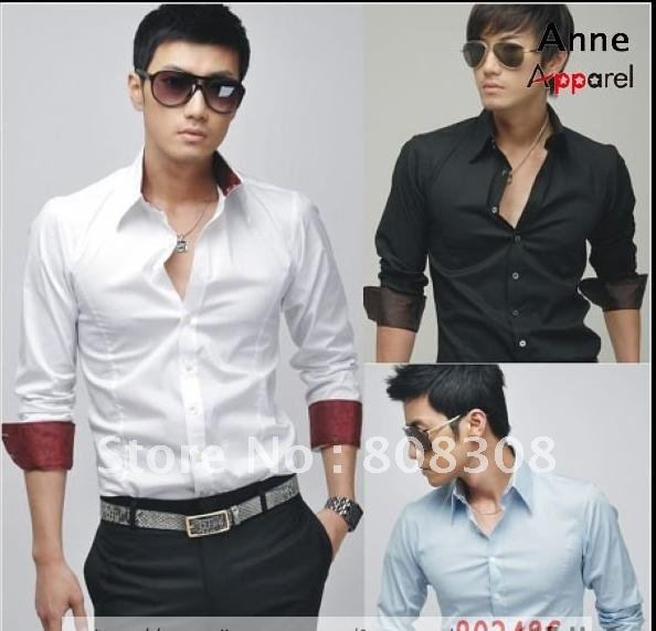 2011 NEW Men's Slim Luxury Silk Pached Royal Dress Shirt, long-sleeved shirt, US: XS S M L (pink, white, blue, black) ST05 - Online Store 808308 store
