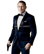 Custom Made Dark Blue Tuxedo Inspired By Suit Worn In James Bond Wedding Suit For Men Groom Jacket Pants Bow black(China (Mainland))