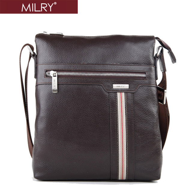 Free Shipping  2013 fashion MILRY 100% Genuine Leather men shoulder bag Business Messenger Bag  for men coffe CS0003-2