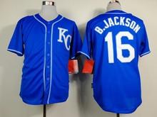 Mens Bo Jackson Jersey Cheap Royals 16# Bo Jackson Throwback Baseball Jerseys Stitched Blue White(China (Mainland))