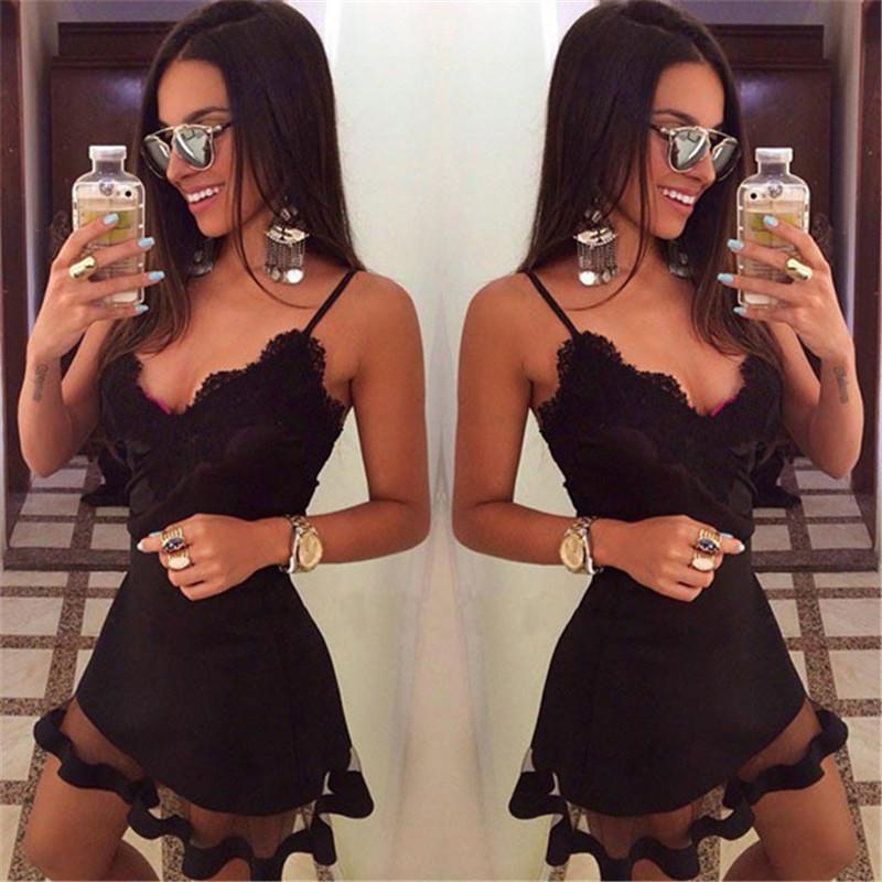 2015 New Arrival Nightclub Lace Harness Dress Black Deep V-neck Slim Mini Dress Women's Sexy Nightclub Dress