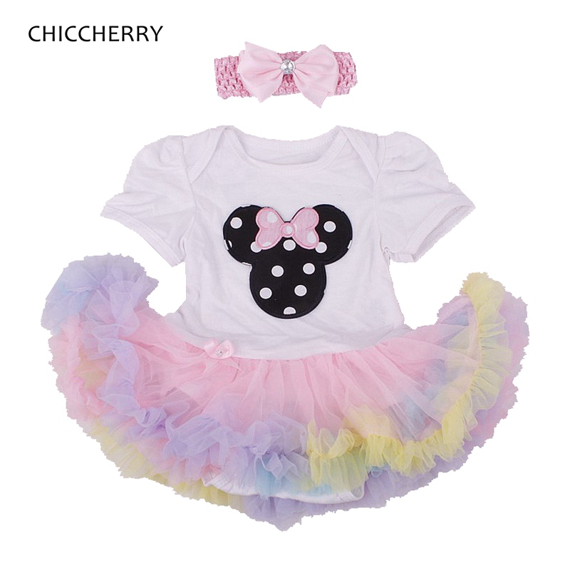 Summer 2016 Minnie Tutu Birthday Outfit Romper + Headband 2pcs Toddler Girls Birthday Outfits Baby Girl Clothes Infant Clothing(China (Mainland))