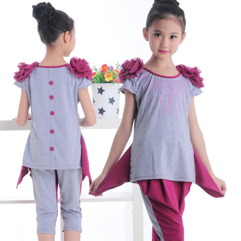 5sets Lot Teenage Girls Fashion New 2014 Kids Clothing Sets Korean Style Children Short T Shirt
