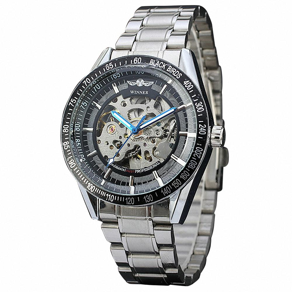 Men Military Sports Mechanical Wrist Watch Stainless-steel Band Tachometer Dial BLACK BIRDS Skeleton Movement Watch+ BOX<br><br>Aliexpress
