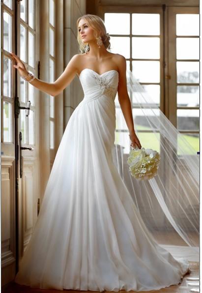 2016 frete grátis Vestidos De Noiva Baratos De decoração Beading Chiffon com Beading Lace Up vestido De casamento reino unido(China (Mainland))