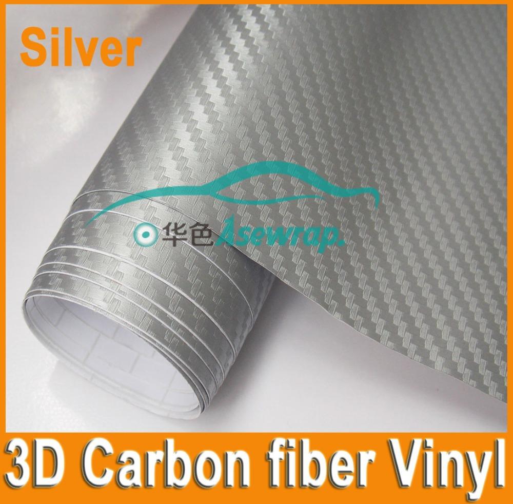 Top Class Raw Material 3D Carbon Fiber Car Cover Vinyl Sliver 3D Carbon Fiber Vinyl Roll 1.52*30m(China (Mainland))