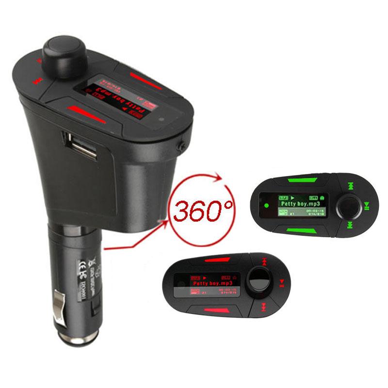 Car Kit MP3 Player Audio Wireless FM Transmitter Modulator USB SD MMC LCD control Car mp3 player Free Shipping(China (Mainland))