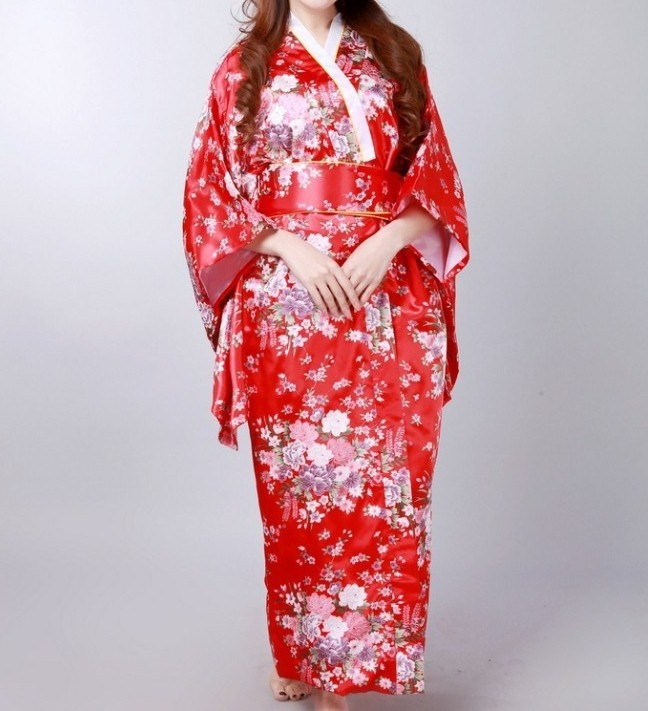 Free Shipping Red Vintage Japanese Womens Silk Satin Kimono Yukata Evening Dress Flower One Size H0044-CОдежда и ак�е��уары<br><br><br>Aliexpress