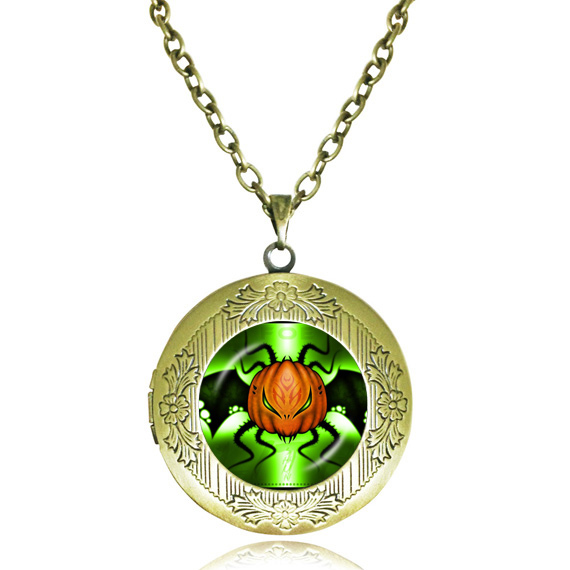 Halloween pumpkin jewelry evil specter necklace bat locket necklace pumpkin picture glass dome pendant trick or treat Hallowmas(China (Mainland))