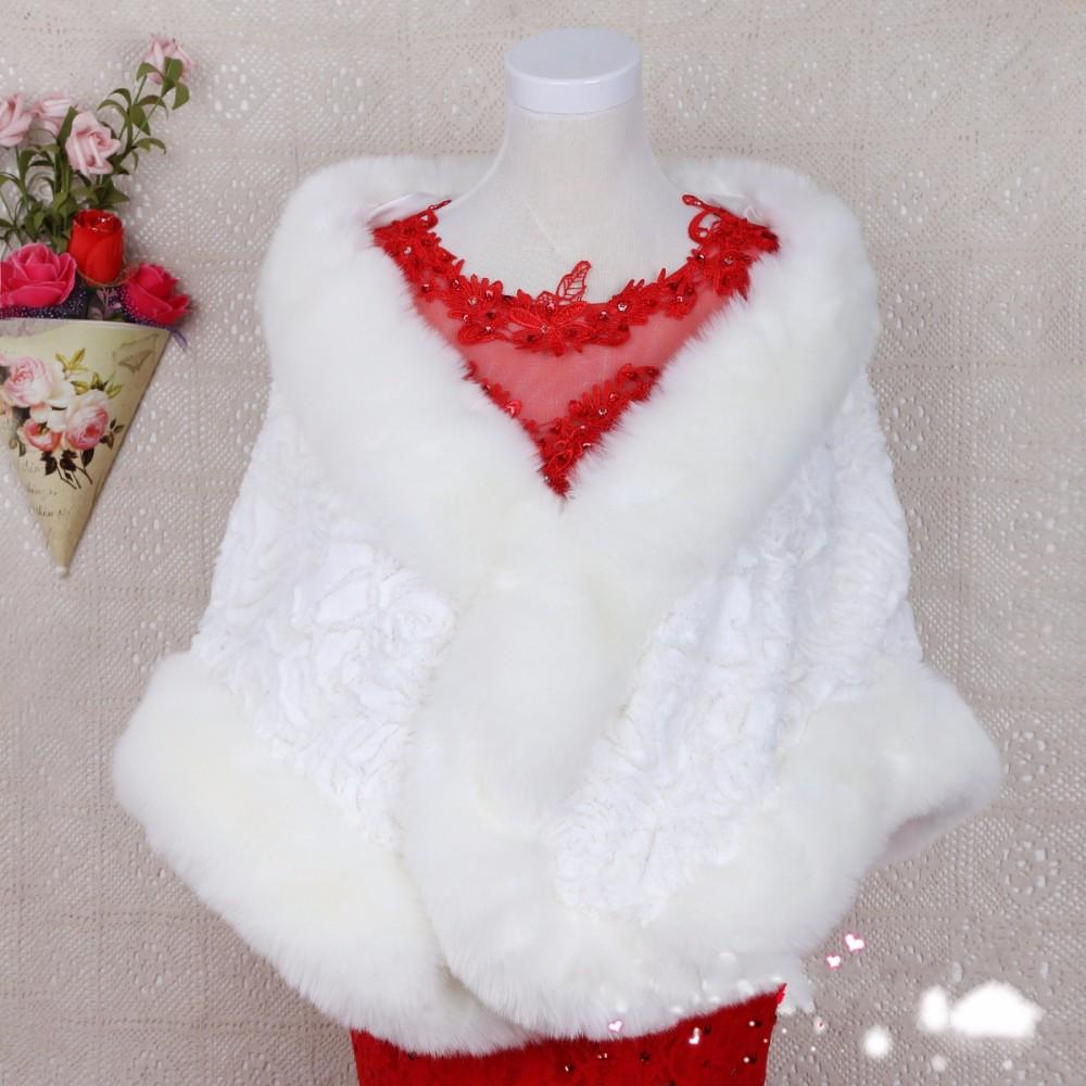 Cheap Bridal Wraps 2016 Winter Faux Fur Coat White Red Wedding Bolero Fashion Women Jacket Mariage Wraps Cape for Bride(China (Mainland))