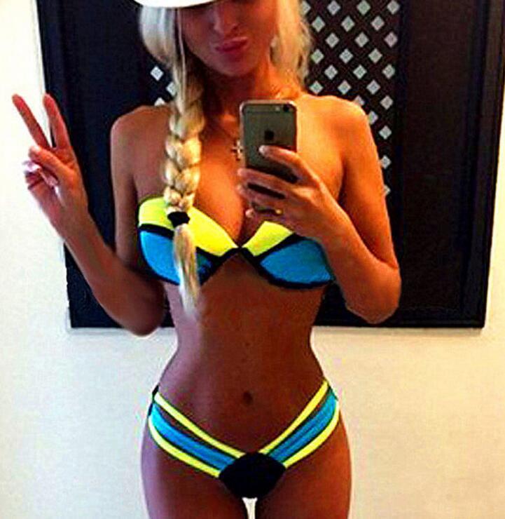 Sex Bikinis Women 2016 Swim suit Swimwears Patchwork Halter Bathing Suit Beach Push up Brazilian Bikini