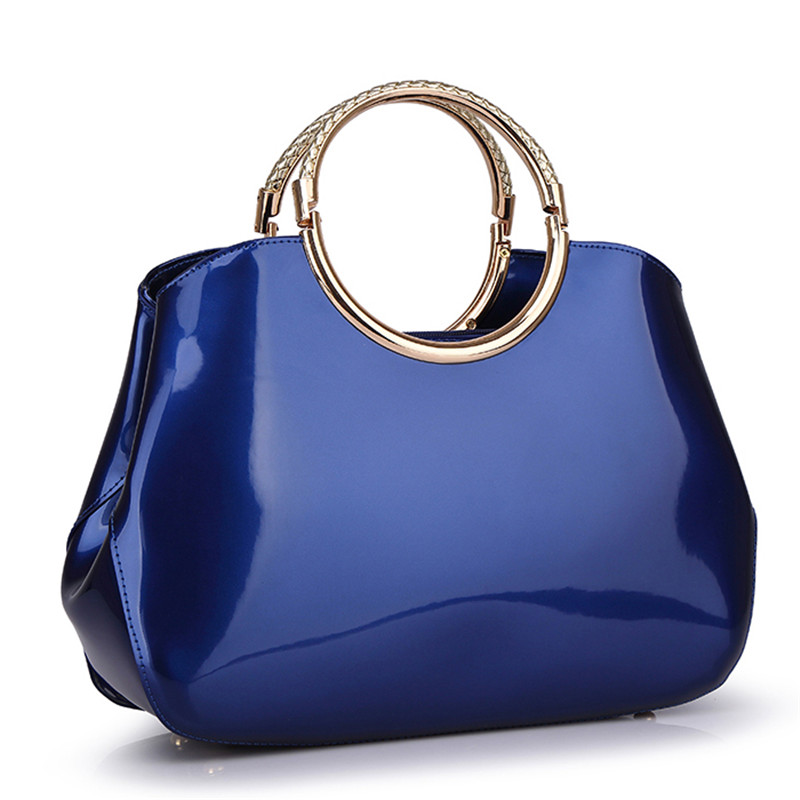 Patent Pu Leather Handbags For Women Shell Blue Shoulder Bags Red