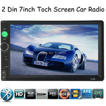 New arrival 2 Din 7'' inch LCD Touch screen car radio player support BLUETOOTH hands free 1080P movie rear view camera car audio(China (Mainland))