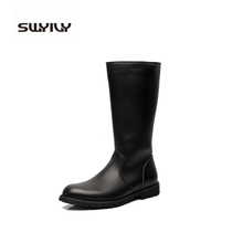 Fashion Waterproof Riding Boot Black Solid Knee-high Casual Men Shoes Leather Motorcycle Boots bota masculino Plus Size 37-44(China (Mainland))