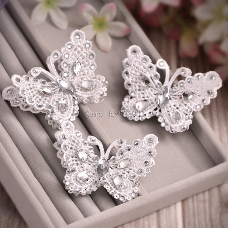 3pcs/lot Charm Bridal Hair Accessories CZ Crystal Lace Butterfly Hairpin Hairclip Hair Jewelry Wedding Bride Headwear(China (Mainland))