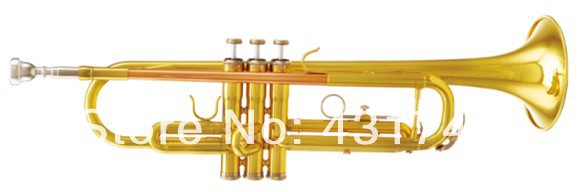 Bb key Trumpet Brass Body Lacquer Finish Musical instruments Free shipping Factory Supply(China (Mainland))