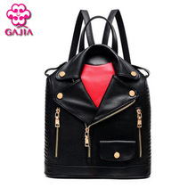 2016 Schoolbag College Wind European and American style fashion black leather clothing women PU leather double-shoulder backpack(China (Mainland))
