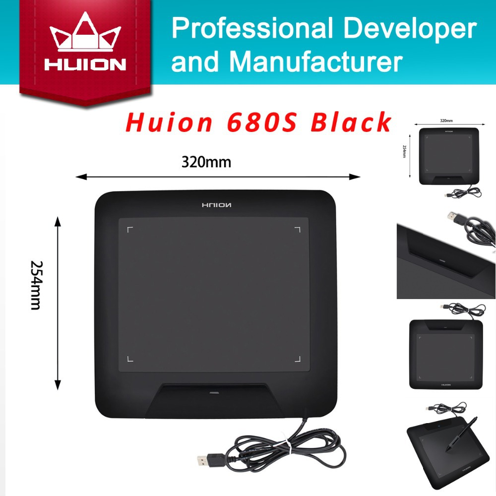 "New HUION 680S 8"" Animation Graphic Tablets Signature Pen Tablet Boards Professional Digital Pen Tablet Pad Black Free Shipping(China (Mainland))"