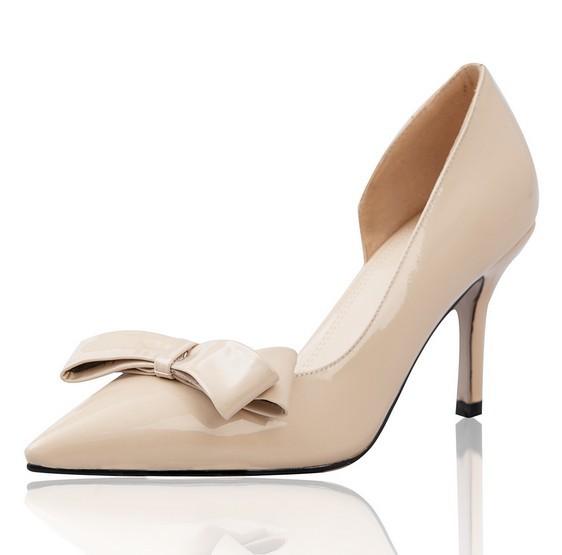 Здесь можно купить  2014 Free Shipping women ladies genuine patent leather design shoes elegant concise beige black high heel bow pointed toe pumps  Обувь