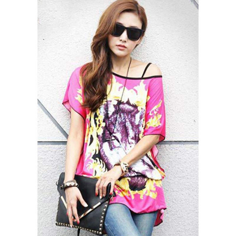 Rhea 2016 Summer New Women's Leisure Style Wolf Printing Round Collar Bat Sleeve Chiffon Loose T-shirts(China (Mainland))