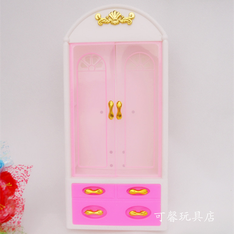 Free Delivery,doll furnishings Wardrobe+  Coat hanger +Mirror three equipment for Barbie Doll,lady play home