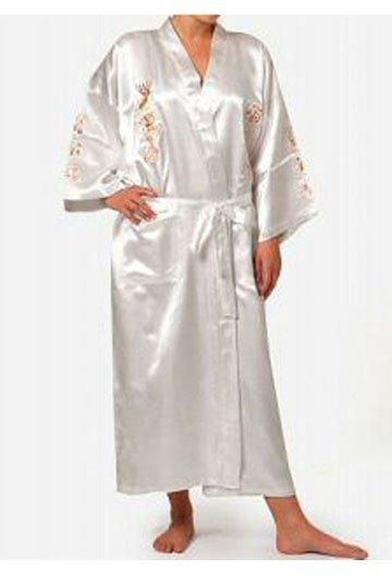 Традиционный белый китайских женщин шелковый атлас одеяние вышивка кимоно ванна платье ...